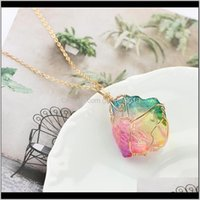 Favor Natural Rainbow Stone Necklace Magnetic Crystal Chakra Rock Chain Quartz Pendant Jewelry Yoga Exercise For Family Party Gift1 Vl Zv9Gy