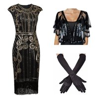 Plus Size Donne da donna Abiti da donna 1920s Beaded Fringed Great Gatsby Dress Party w / Accessori Set XS-XXL Casual