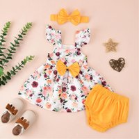 Clothing Sets Baby 2021 Summer 3piece Sleeve Dress Girls Shorts +bowknot Set Floral Print Outfits For 0-18months