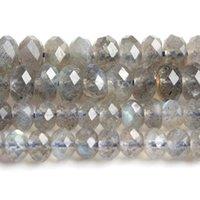 """3 * 5mm 4 * 7mm AAA Doğal Labradorit Rondelle DIY Bilezik Mücevherat Yapımı için Rondelle Gevşek Taş Boncuk 15 """"Strand"""