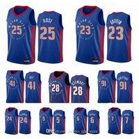 DetroitPistonesHombres Derrick Rose Blake Griffin Saddiq Bey Isaiah Stewart 2020-21 Blue City Basketball Jersey Nuevo uniforme