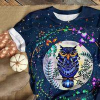 여성 티셔츠 여자 티셔츠 캐주얼 파티 느슨한 둥근 목 반팔 올빼미 화환 인쇄 탑 블루 마스 매일 셔츠 카메인
