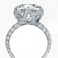 Véritable Solide 925 Sterling Sterling Rose Lotus Flowers Bagues pour femmes de luxe Mariage 2ct Diamant Bague Bijoux