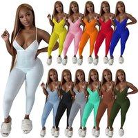 Frauen Spaghetti Strap Overalls Sommer Kleidung Onesie Sexy Strampler Skinny Bodysuits Solide Farbe Einteilige Hosen 5385
