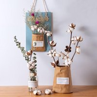 Naturally Dried Cotton Flowers Artificial Plants Floral Branch For Wedding Party Decoration Home Livinf Room Fake Decor Decorative & Wreaths