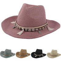 Stingy Brim Hats SAGACE Women Floppy Sun Hat Wide Foldable Summer Beach Stone Hand Made Straw Cap With Shell Chain UV