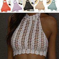 Avantgarde Badeanzug für Frauen 2021 Handhaken gestrickter Hals gebunden hoher Bikini-Brust eingewickelt sexy Strand Badeanzug oben