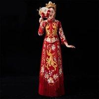 중국어 스타일 웨딩 드레스 자수 꽃 피닉스 신부 의상 오리엔탈 결혼 세트 절묘한 청산 플러스 사이즈 4XL 5XL 민족적 천