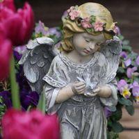 Garden Decorations Resin Flower Fairy Sculpture Angel Statue Decoration Home Nordic Country Gardening Decor