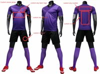 Custom Team Kids+Adult Full Purple Blank Soccer Jersey Uniform Mens Women Sports Personalized Shirts with Shorts Printed Design Name and Number 19B-00