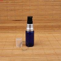 10 pçs / lote Promoção vazio 15ml loção de vidro bomba garrafa mulheres cosméticos de alta qualidade recipiente azul pot panela de prata recarregável