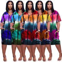 Plus Size 3xl Mulheres Tie Dye Dresses V Pescoço Manga Curta Maidi Saias Verão Vestuário Moda Cinco Cores Feminino Casual Vestido Solto 4881