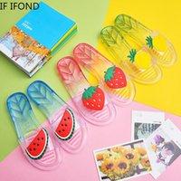 Hausschuhe, wenn der Sommer rutschfeste komfortable PVC-Kristall-transparente Slipper-Mädchen-Karikatur-flache Schuhe-Strandschwimmen