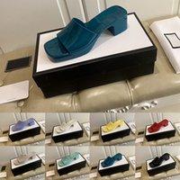 [Mit Box] Vorzugsfrauen Hausschuhe Gummi Dicke Ferse Slipper Quadratische Zehe Sandalen High Heeled Damen Heele Höhe 5,5 cm Front Heels Heights Sandale