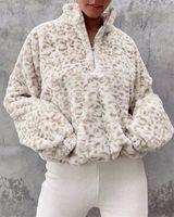 2021 Animal Leopard Print Furry Sweatshirt Women Casual Winter Warm Hoodies Tops Ladies Autumn Sweatshirt Cheetah Clothes