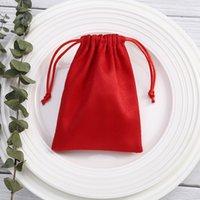 50 stks Sieraden Display Pouches Verpakking Kralen Flanel Fluwelen Handcraft Gift Sieraden Tassen Toon Kerst Candy Drawstring Bag Red