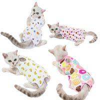 12pcs / lote feminino gato cão cirurgia terno esterilização vestido pós-barato anti-off anti-mordida pet roupas suprimentos yc09