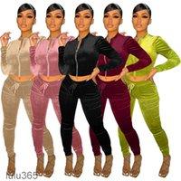 DONNA VELLUCE TRAINKSUITS Stand Collar Zipper Felpa Pantaloni Pantaloni in esecuzione Sport Track Tuta 2 pezzi Jogging Sets Abbigliamento femminile Lulu365