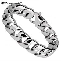 Fashion Real Steel Men Bracelets Punk Bangle Pulseras High Polished Wristbands Classic Jewelry Brace lace 1.5cm 210713