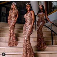 Sexy Aso Ebi 2021 Arabic Sparkly Mermaid Prom Dresses Sequined Rose Gold Guests Elegant Plus Size Formal Party Dress Evening Pageant Gowns