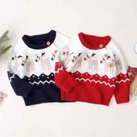 0-18M Christmas born Infant Baby Boy Girl Knitted Sweaters Autumn Winter Warm Long Sleeve Deer Top Xmas Clothing 210515