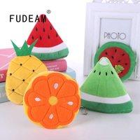 FUDEAM Soft Plush Watermelon Orange Fruit Women Purse Mini Cute Oval Zipper Children Girl Coin Wallet USB Cable Headset Bag
