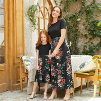 Family Matching Outfits Mother Daughter Dresses Clothing Girls Clothes Cotton Summer Short Sleeve Flower Long Kids Beach Dress B6284