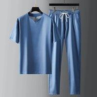 Chevaliers Hommes Summer Tencel Hommes Set (T-shirt + Pantalon) Ventilation de luxe Sport Mince Casual Masque Masque Slim Taille élastique Costumes