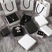 оптом обычай чистые белые коробки покрытые матовые ювелирные изделия упаковочный кольцевой браслет сумочка подарок
