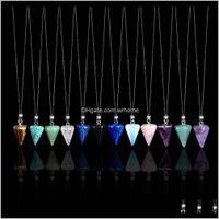 Arts And Arts, Crafts Home & Gardennatural Crystal Pendant Gemstone Amethyst Aquamarine Necklace Diamond Gift Stone Teacher Gifts Personaliz