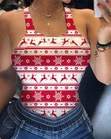 Women's Tanks & Camis Sleeveless Sexy Halter Vest Cute Christmas Elk Printing Underwaist Backless Tight Slim Tank Tops