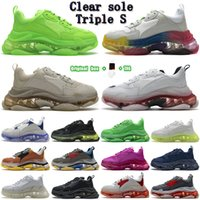 2021 패션 남성 여성 여성 여성 망 디자이너 트리플 s 명확한 신발 솔 플랫폼 캐주얼 파리 17FW 오래 된 아빠 큰 증가 스니커즈 크리스탈 스포츠