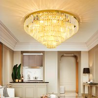 LED Modern Crystal Ceiling Lights American Round Gold Hanging Lamps European Luxury Chandeliers Home Indoor Lighting Diameter 40cm-120cm 3 White light dimmable