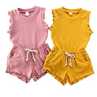 Baby Girl Clothing Set Summer Ruffle Vest Top + Shorts 2-Piece Children Solid Color Clothes Suit Casual Sweet Girls Sets