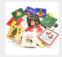 24pcs Lot 7*7cm Xmas card Factory direct sales-Hot Greeting Creative Christmas tree greeting New Year Cards , flowers hanging card