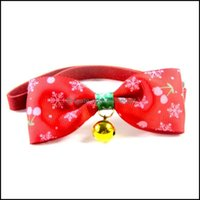 Dog Supplies Home Gardendog Collars & Leashes Christmas Pet Bowknot Collar Snowflake Printed Cat Bow Tie Necklace Adjustable Small Drop Deli