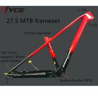 Vyce مشرق أسود مع الأحمر التدريجي كامل الكربون mtb دراجة إطار الفرامل 27.5 12 كيلو لامعة 135xqr 142x12 ملليمتر