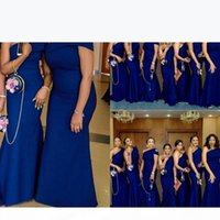 2021 Cheap Sexy Royal Blue Mermaid Bridesmaid Dresses Wedding Guest One Shoulder Cap Sleeves Floor Length Plus Size Maid Of Honor Gowns