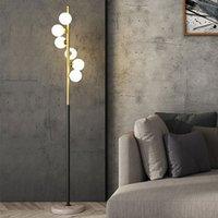 Basit LED Oturma Odası Zemin Lambası Nordic Basit Cam Top Mermer Ayakta Lamba Ev Deco Aydınlatma Armatürleri Başucu Lambaları G4