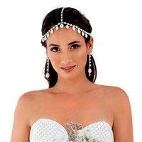 Cuilce de luxe Strass Cristal Chaîne à cheveux Femmes 2020 Décoration de cheveux Simulée Perle Bandeau Bande Bride Bijoux de mariage1 1330 Q2