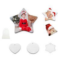 Gunst Sublimation Leere Keramik Anhänger Herzförmige Sterne Weihnachtsschmuck DIY Crafts Festival Dekoration