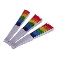 Regenbogen-Fans, die Fans-Fans-Kunst-bunte Hand-Fan-Sommer-Zubehör für Geburtstag Hochzeits-Party-Dekoration-Party-Favor Geschenk DWB9046