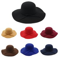 fedora hats for women wide brim classic woolen dome bow ruffled large brimmed hat autumn and winter tweed