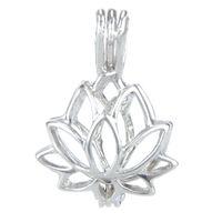 925 Madalyon Kafes, Lotus Şekli Inci Gem Boncuk Kafes Kolye, Ayar Gümüş Kolye Montaj DIY Takı Uydurma
