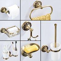 Conjunto de acessórios de banho Acessórios de banheiro antigo Bronze Papel higiênico Suporte de rolo de chuveiro Soap Prato Gancho WC escova toalha anel