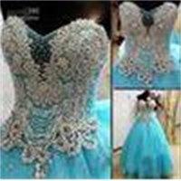 New Arrival Strapless Luxury Crystals Blue Custom Online A-Lin Wedding Dress 2021 Bridal Gown Princess Vestidos De Novia