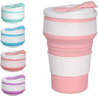 12 oz   355ML Silicone Water Bottle Creative Environmental Protection Folding Telescopic Straw Cup Leisure Simple Travel Portable Coffee Cups