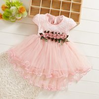 Girl's Dresses @ Born Baby Girl Ruched Lace Dress Summer Toddler Kids Floral Tulle Princess Clothes For Vestido