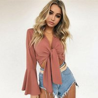 Summer Women Casual Solid Blouse Long Flare Sleeve Crop Top Shirt Clothes Women's Blouses & Shirts