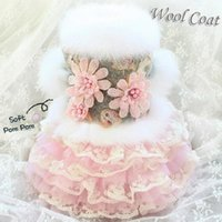 Handmade Dog Apparel Clothes Dress Pet Coat Skirt Handmade Noble Grey Wool Flower Cat Winter Poodle Maltese